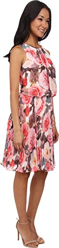 B00P8BL65Y Maggy London Women's Rose Burst Pleated Chiffon Blouson Dress, Soft White Coral, 8