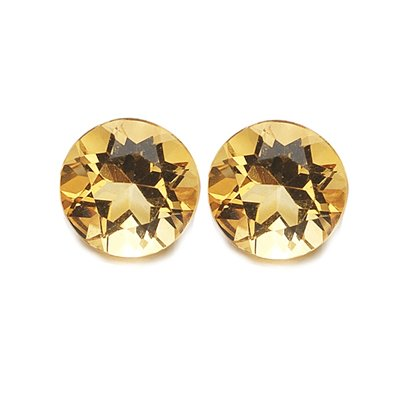 0.76 Cts of AAA 5 mm Round Matching Loose Citrine ( 2 pcs set ) Gemstones
