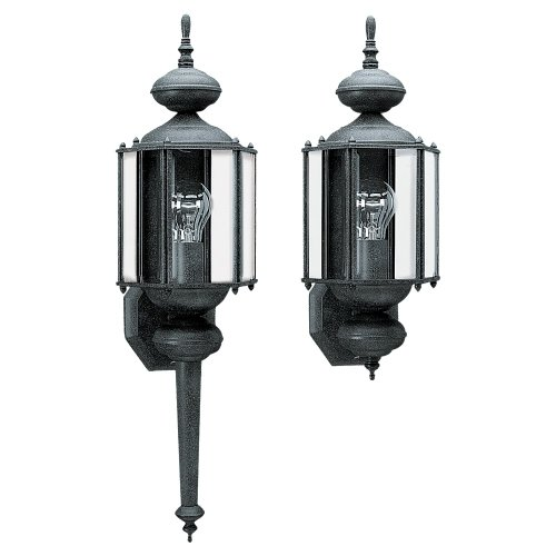 Sea Gull Lighting 8510-12 Outdoor Wall Lantern One Light With Clear Beveled Glass, Black