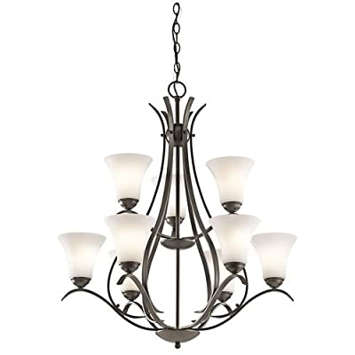 Kichler Keiran 9-Light 2-Tier Chandelier and Satin Etched Glass Shades