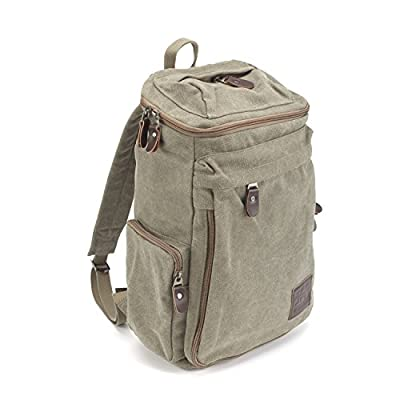 HiCollections Travel Vintage Canvas Messenger Backpack Sport Rucksack Camping School Satchel Hiking Military Laptop Bag + Free 24 Card Holder Wallet