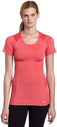 Reebok Women's Easytone Short Sleeve Top (Indian Magenta, X-Small)