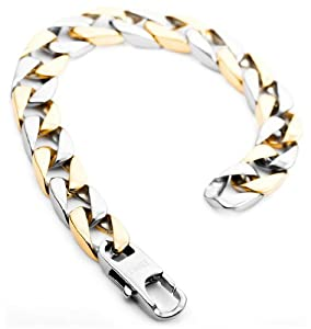 Justeel Jewelry Mens Silver Gold 316l Stainless Steel Chain Link Bracelet Wrist Band Chains by Justeel Jewelry