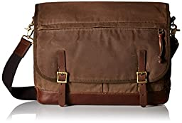 Fossil Women\'s Defender Waxed Canvas Messenger Bag, Brown