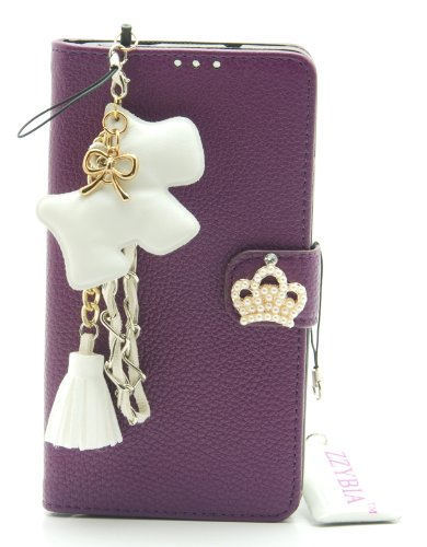 Zzybia® Note Iii 3 Lcd Purple Leatherette Stand Case Card Holder Wallet With White Dog Fringed Dust Plug Charm For Samsung Galaxy Note Iii 3 N9000 N9005