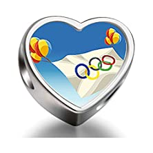 buy Soufeel 925 Sterling Silver London 2012 Olympic Games Five Rings Flag Heart Shaped European Charms Fit European Bracelets