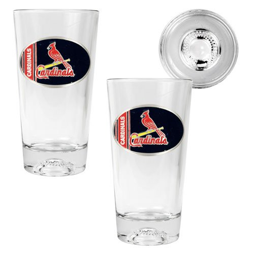 MLB St. Louis Cardinals Two Piece Pint Ale Glass Set with Baseball Bottom - Oval Logo at Amazon.com