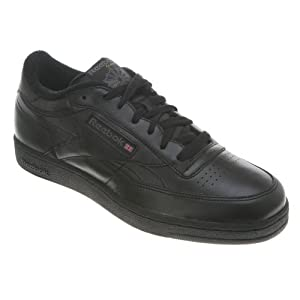 Reebok V61892 Mens Club C XW 4E Tennis Shoes, Black/Charcoal - 9.5