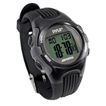 Pyle Sports PSWGM64BK Gymaster Fitness Multi-function Watch with Pacer, 50 Lap Chronograph Memory, 4 Countdown Timers (Black)