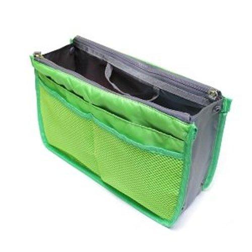 バッグインバッグ 大きめ コスメポーチ インナーバッグ ミニトート レディース バッグインバッグ ファスナー(6COLOR) (GREEN)