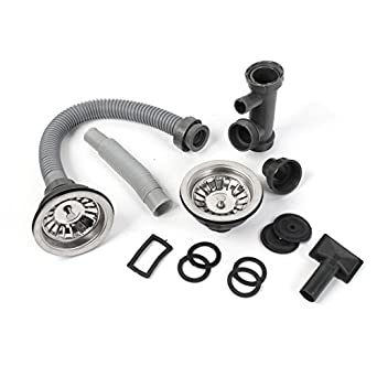 Bathroom Double Sink Basin Drain Hose Pipe w Strainers Stopper Set ...