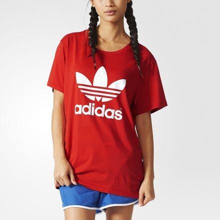 T-shirt da donna a maniche corte adidas Trefoil, Lush Red S16-St, 34, AJ8114