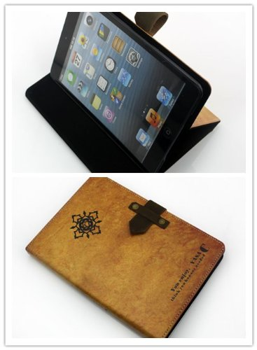 Big Dragonfly High Quality!New Arrivals Slim Fit Folio Luxurious Premium PU Leather Case Cover with Hard Back Case and Flip Stand for Apple iPad mini 7.9 Inch/iPad mini2 Retina with Buckles Closure(Ancient Ambigram Flower Pattern Tan)