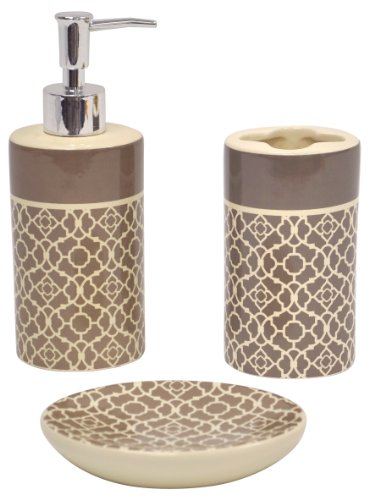 Waverly Traditions by Famous Home Fashions Lovely Lattice Taupe Bath Set, 3-Piece