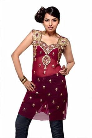 Jayayamala Lovely Rose Georgette Tunika Multi Color Stein Work Party Kleid (xs)