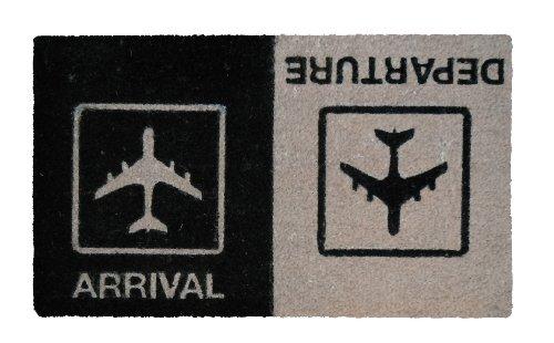 """Young Generation YH101503 Shoe-Max Classic - Zerbino """"Arrival Departure"""" in fibre di cocco, retro antiscivolo in PVC, ca. 74 x 44 cm, colore: Nero/ Grigio"""