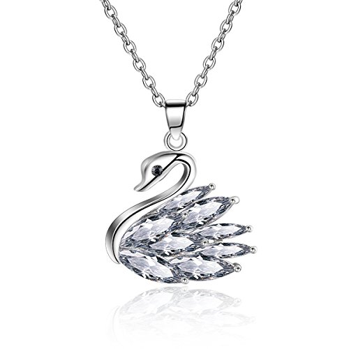 [JUFU Charm Jewelry Elegant Platinum Plated Swan Pendant Necklace Brides Rolo Chain 20