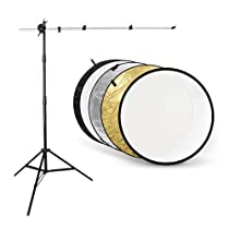 CowboyStudio Photography Reflector Disc Kit with Holder Arm, Light Stand and 43 inch 5-in-1 Collapsable Reflector Gold/Silver/White/Black/Translucent