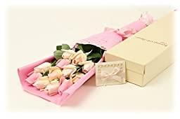 BOUQUET OF ROSES, Elegantly Wrapped, Presented in a Charming Gift Box (Includes a Handsome Blank Card); Unbelievably Natural Look and Feel, See Size and Color Options (Classic Bouquet, Pink Medley)