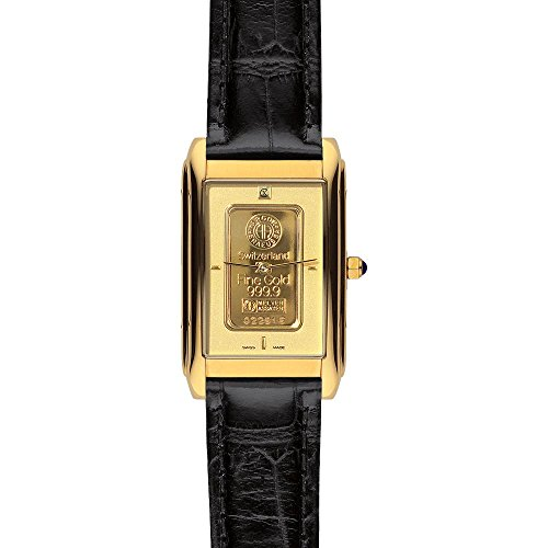 Charmex unisex Gold Ingot 1560 26.0x34.0mm Gold Plated Stainless Steel Case Black Calfskin Synthetic Sapphire Men's & Women's Watch