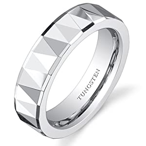 Revoni Faceted Polished Finish 5mm Womens White Tungsten Wedding Band Ring Size M,