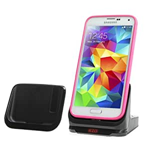EZOPower USB 3.0 Sync Transfer Dual Dock Cradle Desktop Charger with Spare Battery Charging Slot with Detachable Case Plate for Samsung Galaxy S5 / SV Android Smartphone