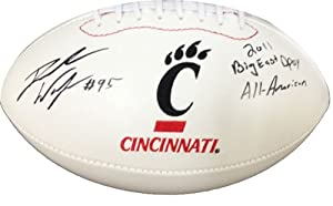 Derek Wolfe Signed Autographed Cincinnati Bearcats Footballs by Radtke+Sports