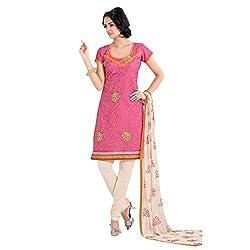 Parabdhani Fashion Women's Chanderi Semi Stitched Suit (PBF_DM_04_Pink_Free Size)
