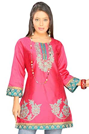 Ladies Rose Color Silk Cotton Fashion Tunic Shirt Blouse (xs)