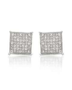 Genuine Morne Rouge (TM) Earrings. 0.21 Ctw I2 Color I-J Diamonds Sterling Silver Earrings. 1.9 Grams in Weight and 8 mm in Length. 100% Satisfaction Guaranteed.