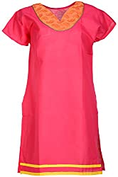 Anshul Textile Women's Cotton Regular Fit Kurta (Pink)