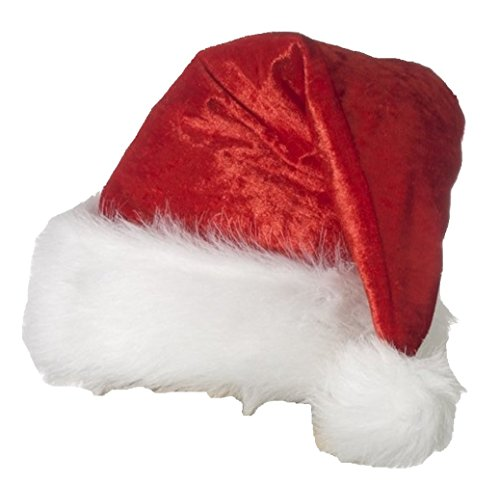 Velour Santa Hat Christmas Costume Accessory Select Size: One Size Fits Most - 1