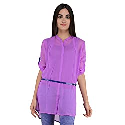 Terquois Plain georgette Shirt (With Inner and Belt)(591_Purple_XL)