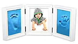 NovoGifts Air Drying Handprint and Footprint Baby Keepsake Come with Colorful Eco-friendly Plasticine White&Blue