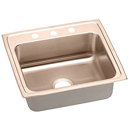 Elkao|#Elkay LR22191-CU 18 Gauge Cuverro Antimicrobial copper 22 Inch x 19.5 Inch x 7.625 Inch single Bowl Top Mount Sink 1 Hole,