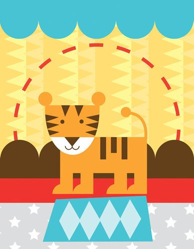 Oopsy daisy, Fine Art for Kids Circus Tricks Tiger Stretched Canvas Art by Clare Birtwistle, 14 by 18-Inch - 1