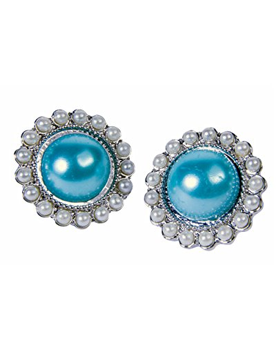 Womens Royal Queen Ornate Oval Teal Pearl Earrings Costume Accessory