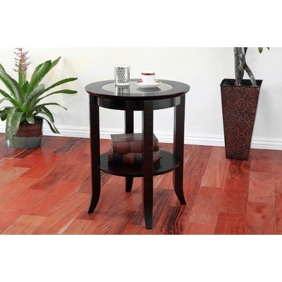 Cheap Frenchi Furniture-Wood Genoa End Table, Round Side /Accent Table , Inset Glass Espresso (MH301)