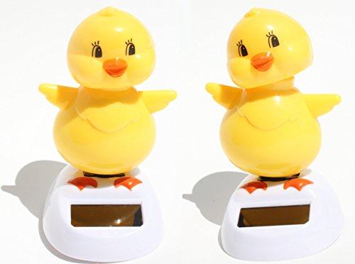 Set of 2 ~ Adorable ~ Who Is That Chick ~ Dancing Yellow Chick Solar Toy - 1