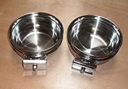 Lot of 2 Bird Parrot Cage Stainless Steel Seed Water Feeder Cups--4\