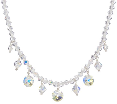 Sterling Silver Swarovski Elements Crystal and Crystal Aurora Borealis Bicone and Drops Necklace, 16