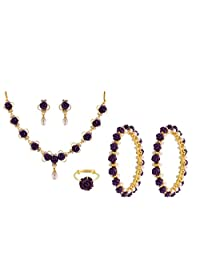 Nisa Pearls Purple Synthetic Coral Combo Set Of Necklace Set, Pair Of Bangles, Ring, For Women