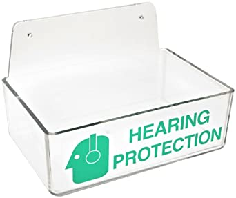 "Brady 2019 3"" Height, 9"" Width, 6"" Depth With 6"" Height, Backplate, Acrylic, Green On Clear Color Compact Ear Plug Dispenser Without Cover, Legend ""Hearing Protection (With Picto)"""