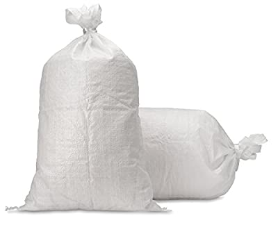 "Sand Bags - Empty White Woven Polypropylene Sandbags w/ Ties, w/ UV Protection; size: 14"" x 26"" , Qty of 1000"