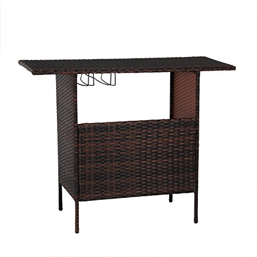 AECOJOY Patio PE Wicker Bar Table Brown Rattan Shelves Counter Garden Outdoor Furniture