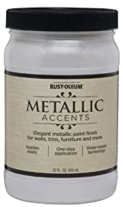 Rust-Oleum Metallic Accents 253611 Decorative 32-Ounce Quart Water Based One Part Metallic Finish Paint, White Pearl