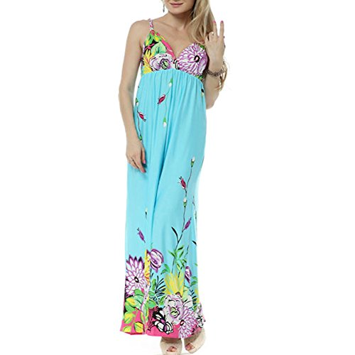 Blue Maxi Long Dress Beach Tops Bohemian Size L(Au100)