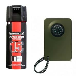 ShoXx.® Set: Umarex Perfecta Pfefferspray 50 ml balistischer Strahl 15% OC + ShoXx.® Kompass