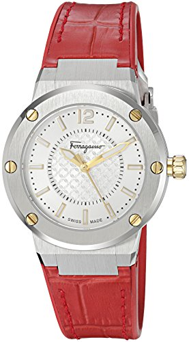 Salvatore-Ferragamo-Womens-F-80-Swiss-Quartz-Stainless-Steel-and-Leather-Casual-Watch-ColorRed-Model-FIG140016