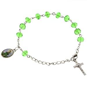 Beautiful Faceted Green Crystal Rosary/Bracelet With Saint Jude Medal And Saint Benedict Cross